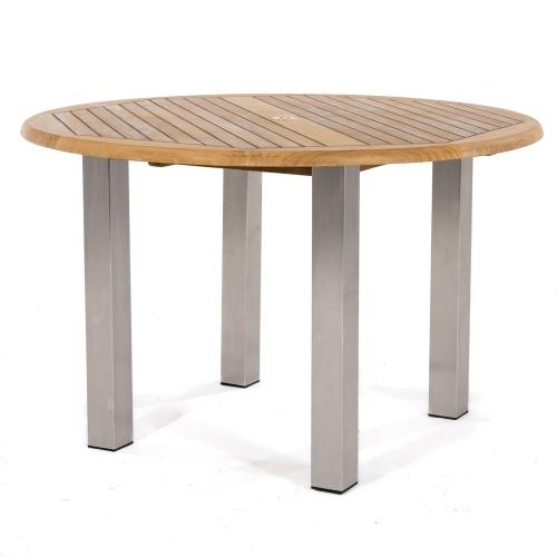 teak dining table with metal legs