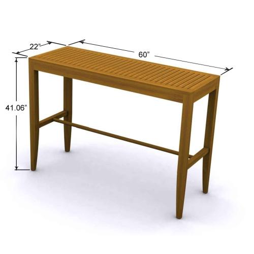 unfinished teak table bar
