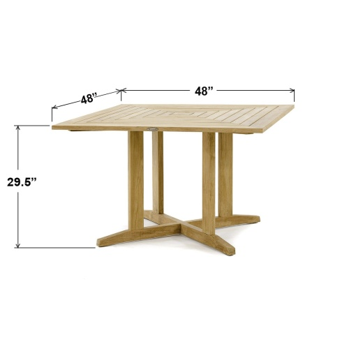 wood deck square tables