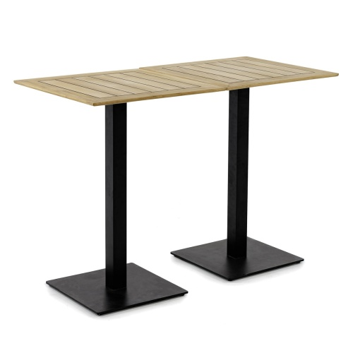 high bar teakwood stainless steel table