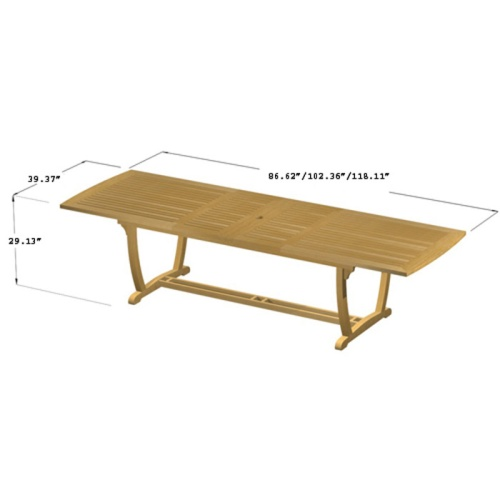 rectangular dining table with curved teak legs