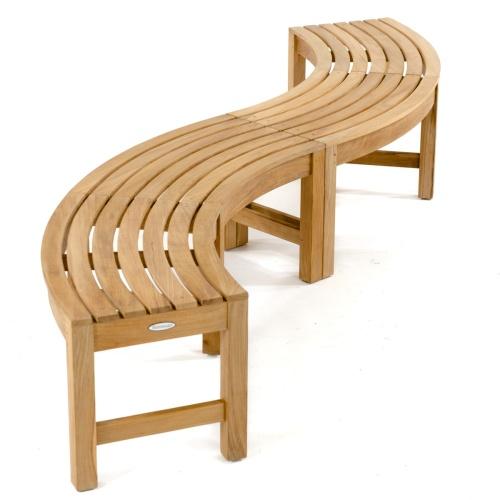 westminster curved teak bench