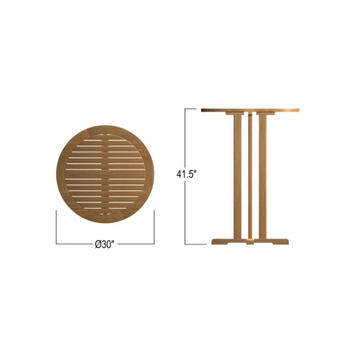 teak pedestal round bar tables