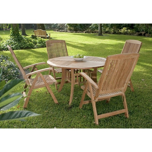 teak indoor round dining room set