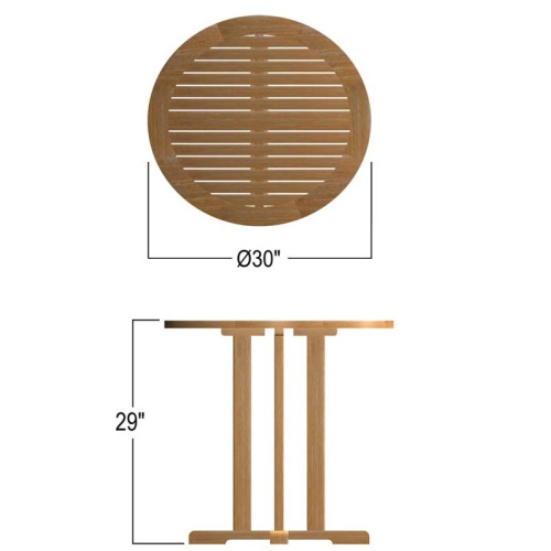 small teak round tables