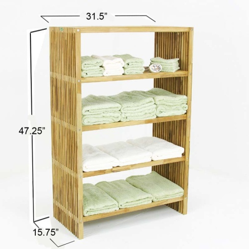 teak wood storage shelves