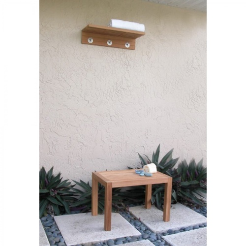 teak shower stool with bath towel rack