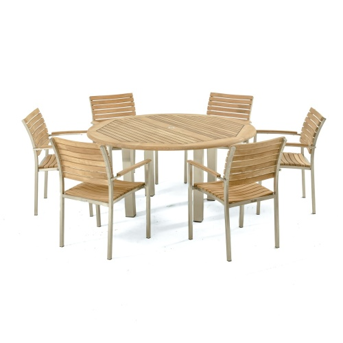 round teak table dining set outdoor