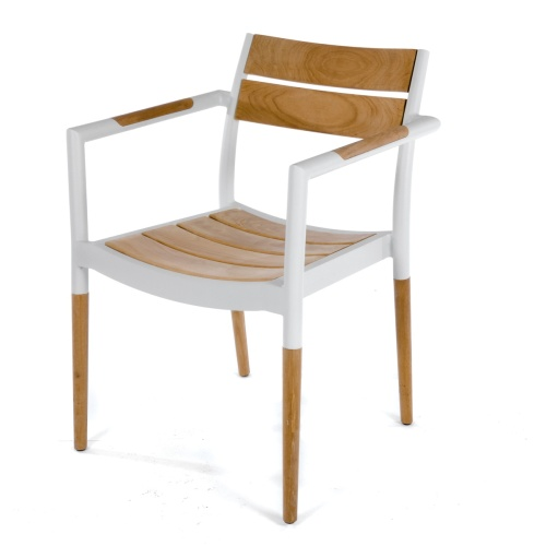 Teak and Aluminum Powder Coated Stackable Chairs