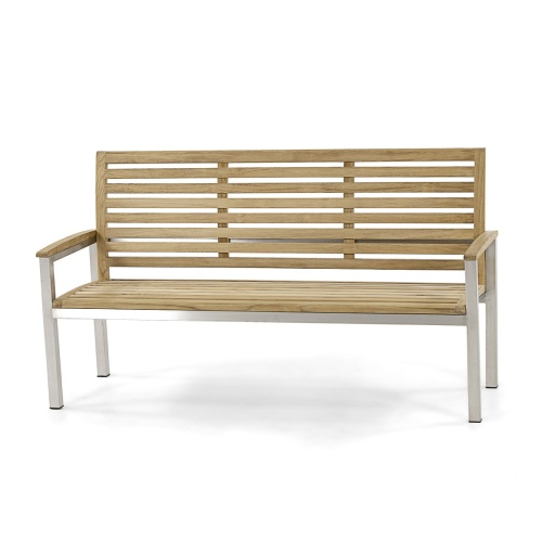 5 foot teak stainless steel garden bench