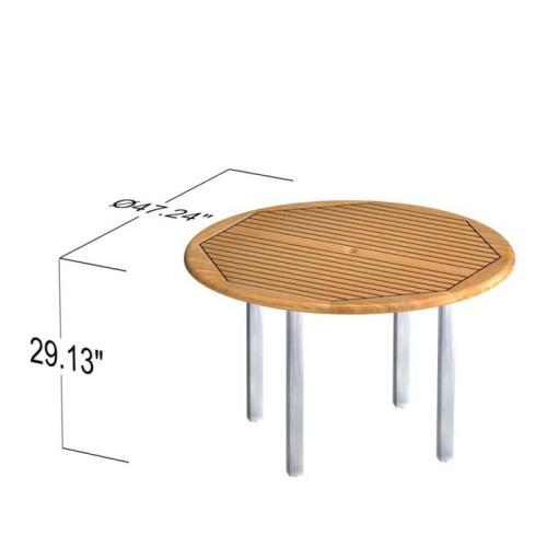 Teak Round Table Set 4