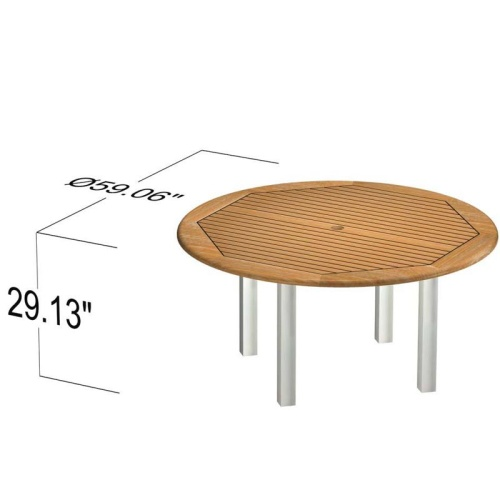 commercial patio furniture round teak and stainless steel table
