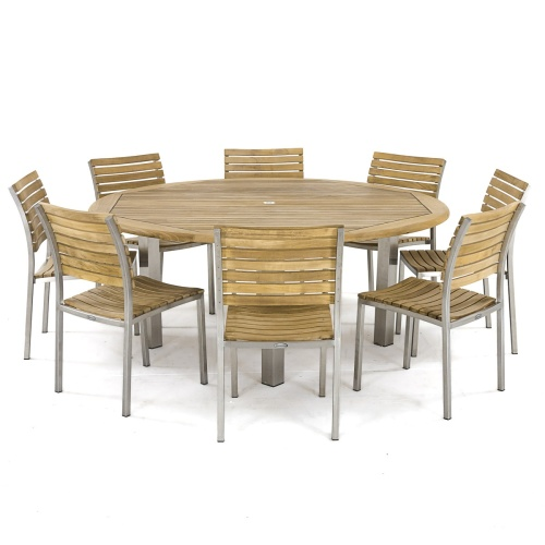 large round teak outdoor dining table set