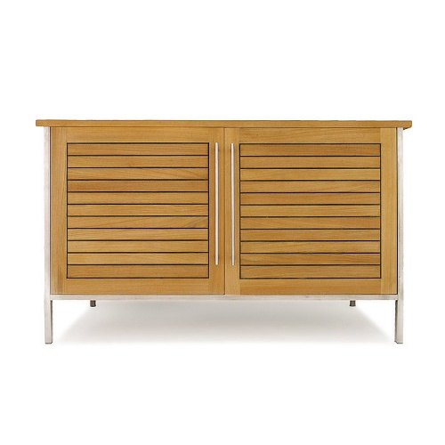 Teak and Stainless Outdoor Sideboard