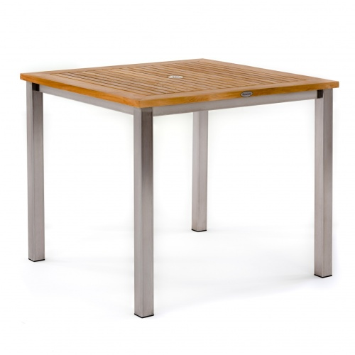 teak outdoor table stainless steel