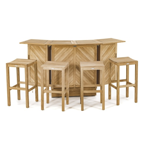 teakwood storage bar set and backless stools