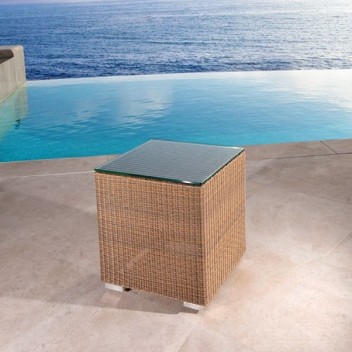 wicker and glass side table