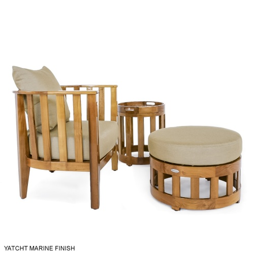 round wooden outdoor side table with tray