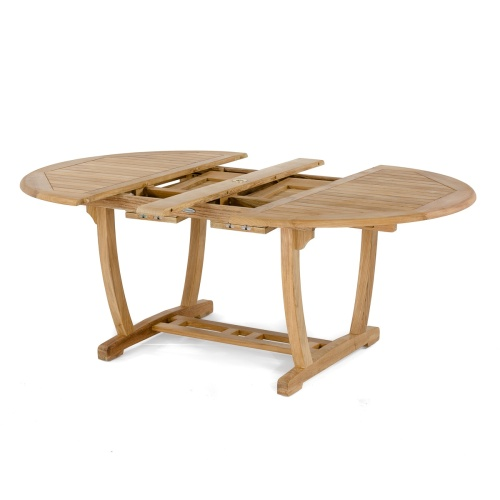 teak oval table with leaf extension