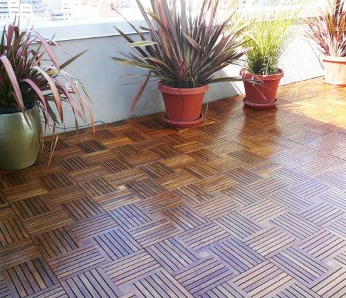 teak parquet flooring indoors