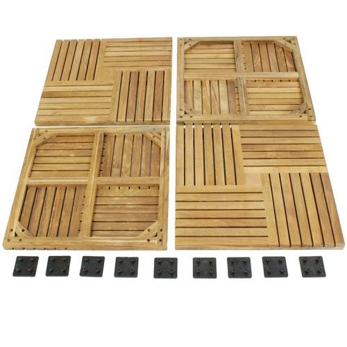 interlocking teak tiles