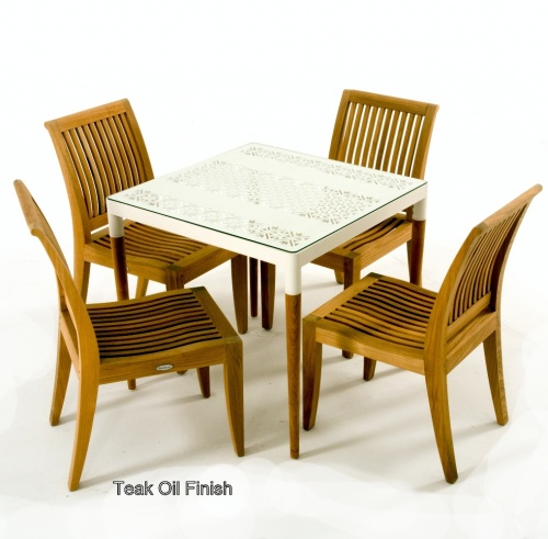 white and teak bistro dining set