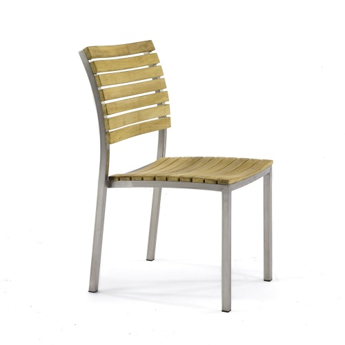 teak stainless steel side chair dining