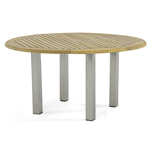 round teak stainless steel furniture table