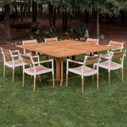 teak aluminum dining sets
