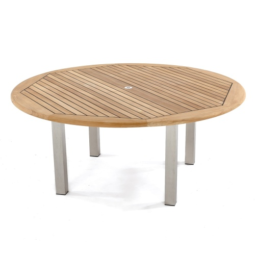 round teak wood stainless steel table