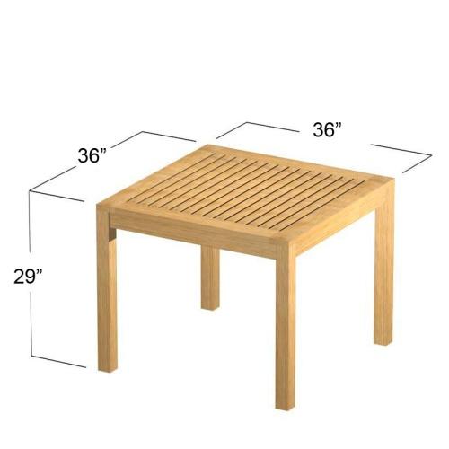 square dinette table outdor teak
