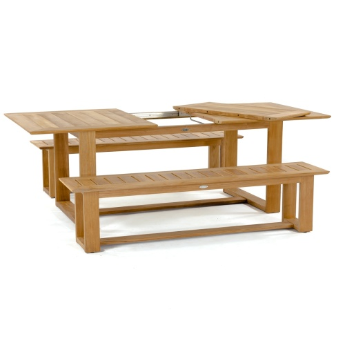 wooden picnic tables with detached benches