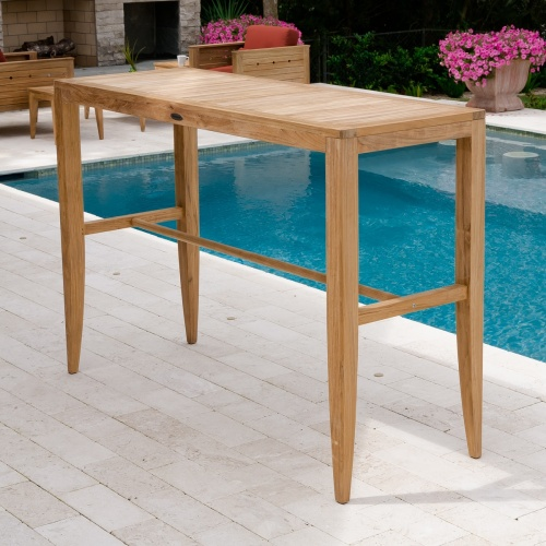 rectangular teak bar table