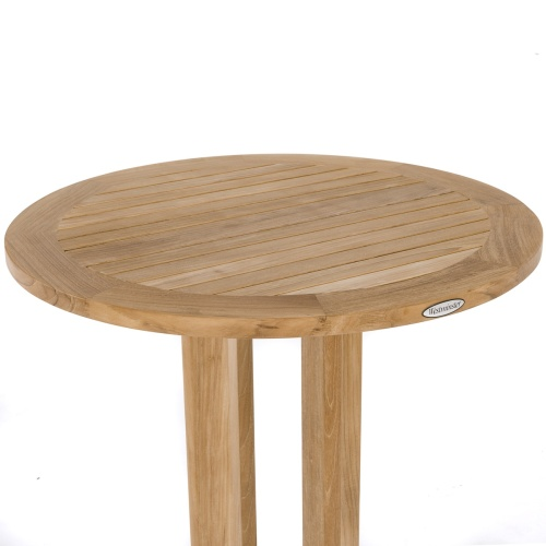 round top high bar table teak