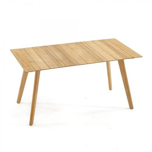 rectangular smooth teak dining table