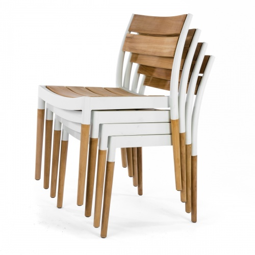 teak stainless stacking chair set of 4