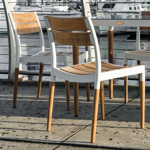 teak and aluminum stackng side chair