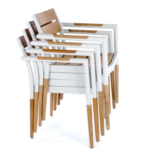 teak and cast aluminum armchairs
