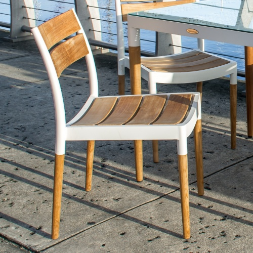 white aluminum and teak patio chair