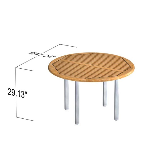 unfinished teak stainless round tables