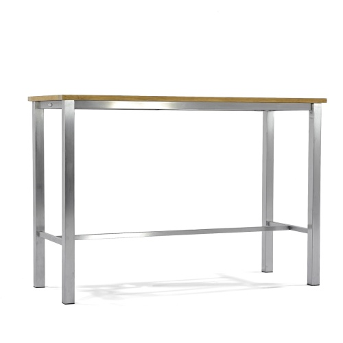 stainless steel bar table with teak top