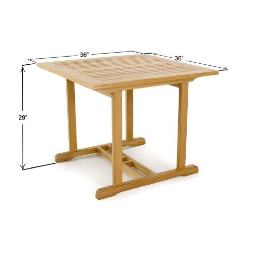 marine square teak table