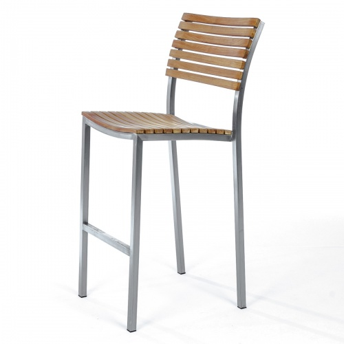 teak and stainless outdoor bar stool