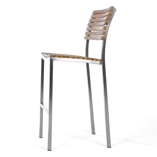 marine teakwood and metal bar stool with back