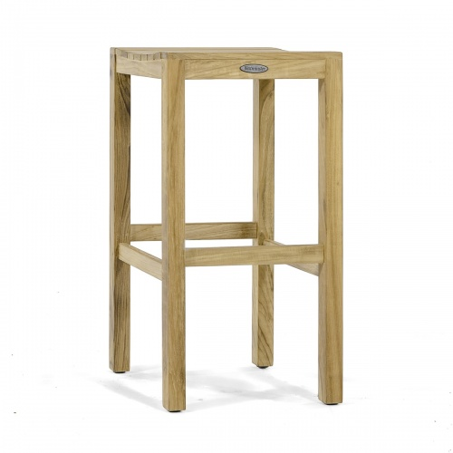 teak backless high bar stool