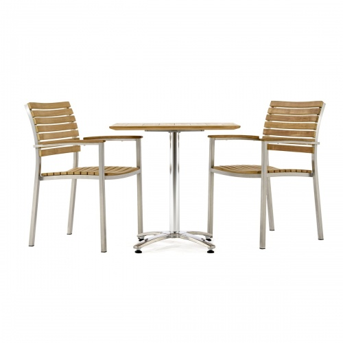 teak stainless steel cafe table and chairs