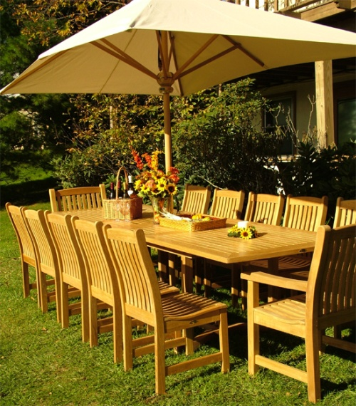 grand veranda 11pc teak patio set