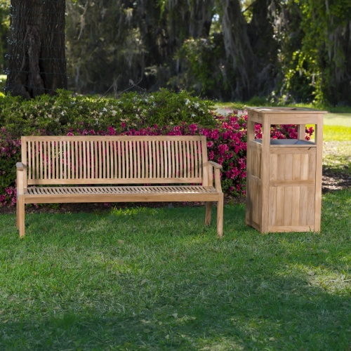 Slatted Wood Bench