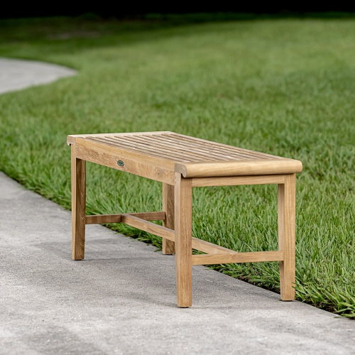 teak backless bench over 48 inches long