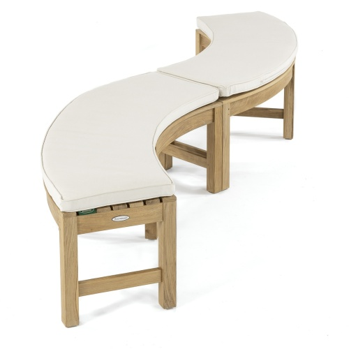teak outdoor round 6 Ft table backless bench set